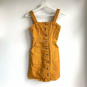 H&M mustard yellow button up dress EUC